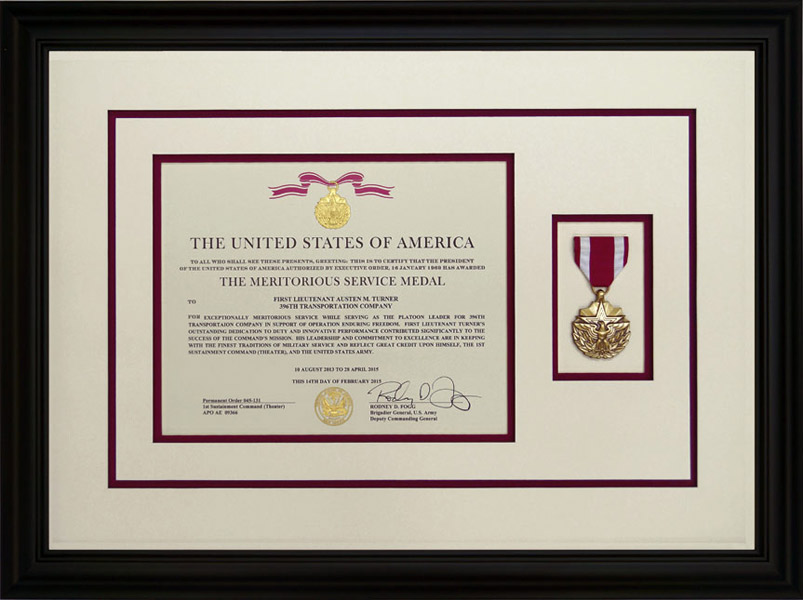 Meritorious Service Medal With Custom Black Frame