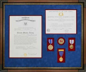 Custom Framed Army Commission Certificate With Medals