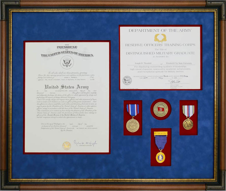 Custom Framed Army Commission Certificate With Medals - Framed Guidons