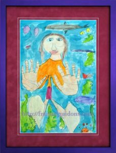 Framed Kids Art Example - Retired Military Parents